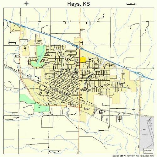 Large Street & Road Map of Hays, Kansas KS - Printed poster size wall atlas of your home town (Kansas Ks Printed Poster)