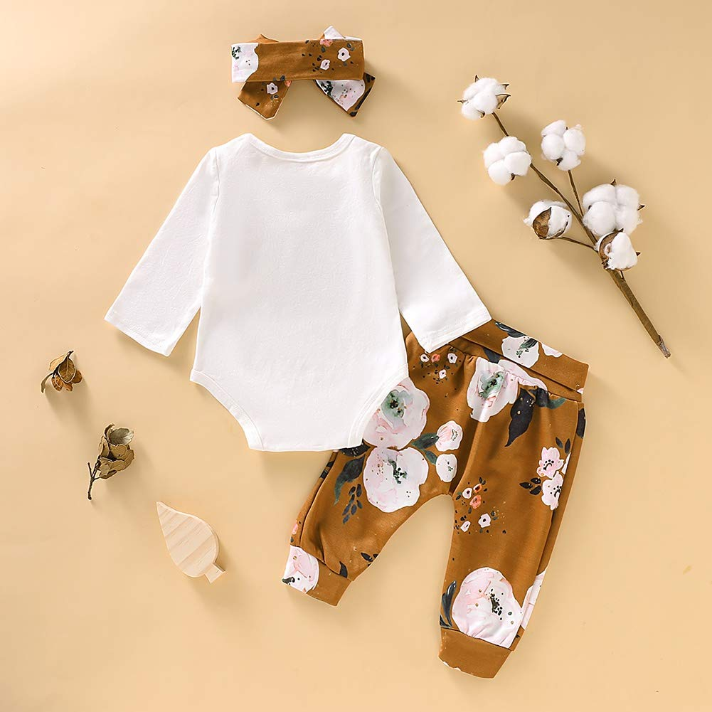 Miyanuby Abbigliamento per Neonata Bambina Lettera Camicie a Maniche Lunghe Pagliaccetto Top Pantaloni di Fiori Completi con Fascia