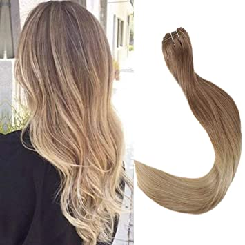 Full Shine Balayage Haie Weft Human Hair 22 Inch Long Straight Sew In Hair Exrensions Color 12