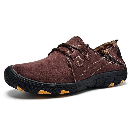 SPEEDEVE Casuales Zapatos Forro de Piel Caliente Mocasines Para Hombres,Invierno Zapatos de Hombre de Gamuza Cuero: Amazon.es: Zapatos y complementos