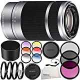 Sony E 55-210mm f/4.5-6.3 OSS Lens (Silver) 10PC Accessory Bundle – Includes 3PC Filter Kit (UV + CPL + FLD) + 4PC Macro Filter Set (+1,+2,+4,+10) + MORE