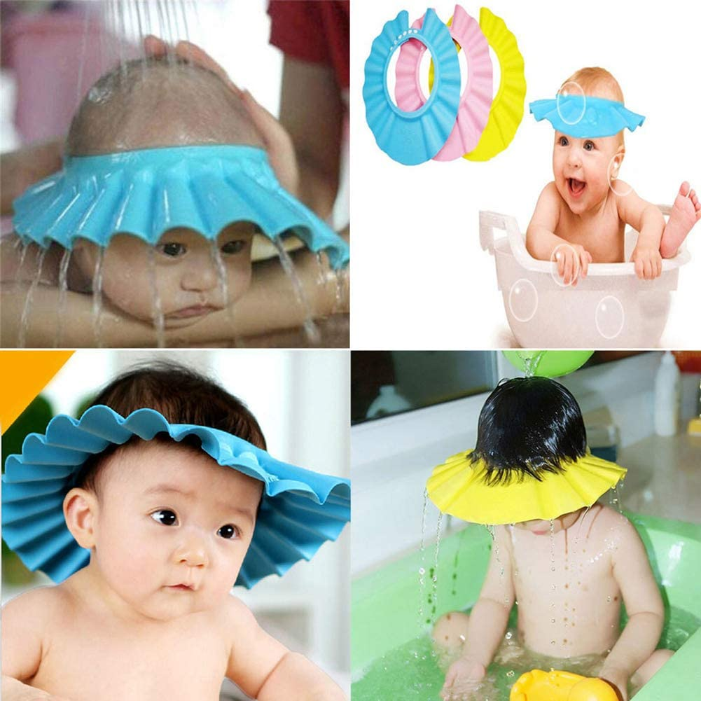 MQUPIN Bath Shower Cap Cap 3PCS Kids Children Safe Shampoo Shower Bathing Protection Bath Cap Soft Adjustable Visor Hat for Toddler Baby