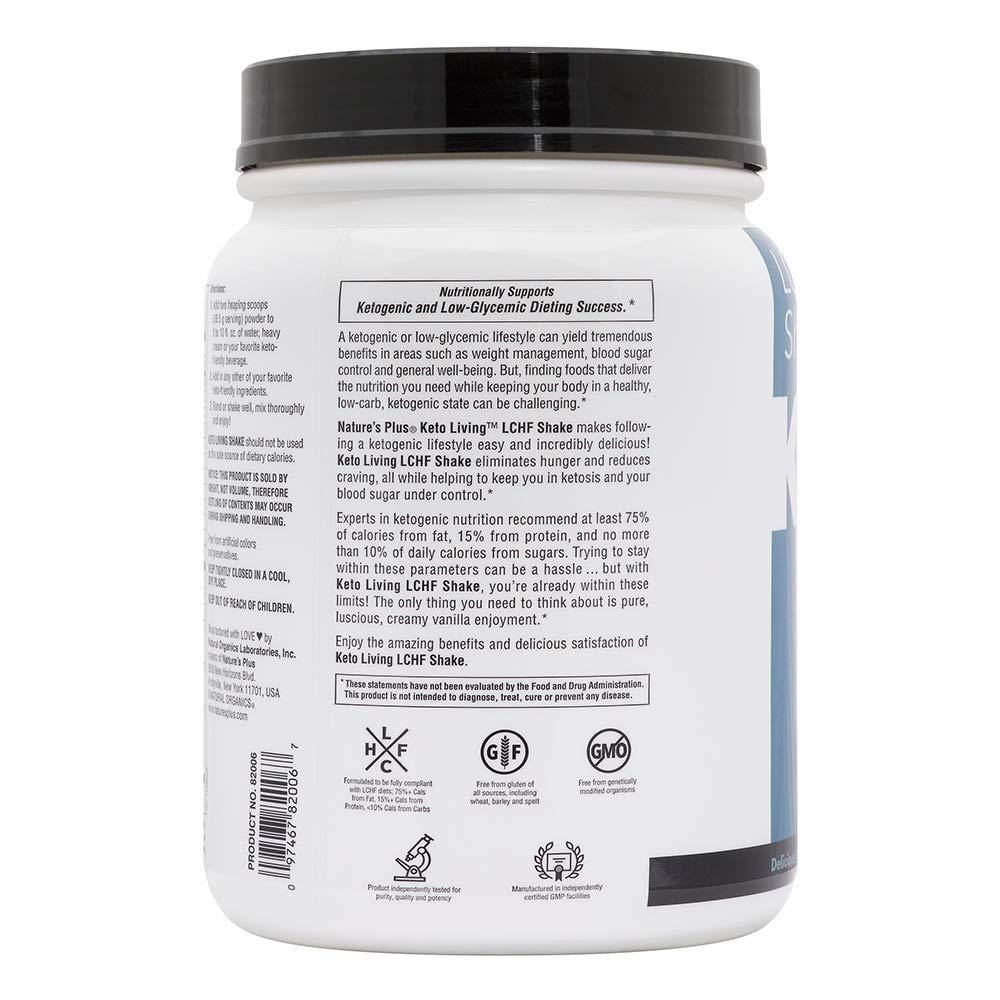 KetoLiving by NaturesPlus Keto Protein Powder with MCT Oil Powder, Vanilla 1.2lb