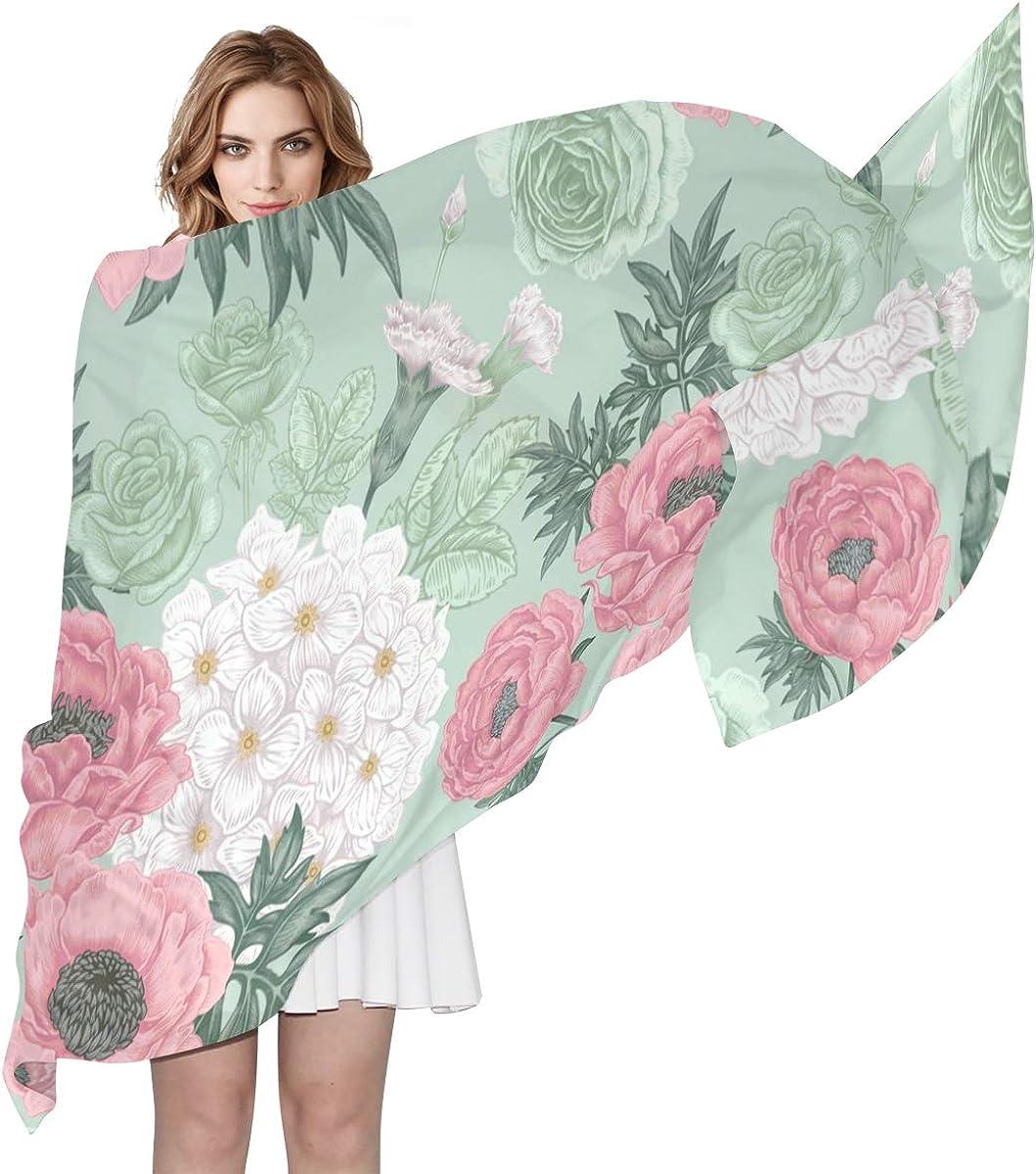 EELa Long Shawl for Women Roses Peonies Hydrangeas Printed Wrap 70x35 inches