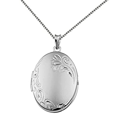 f13714e5cc5 Goldmaid Women s Locket 925 Sterling Silver Necklace with Flower Adornment