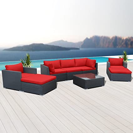 Amazon.com: Modenzi V8-U - Juego de sofá de mimbre para ...