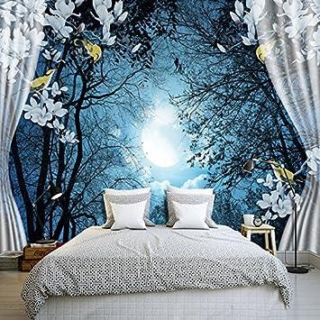 Ohcde Dheark 3D Wandbild Tapeten Natur Ruhige Nacht Wald Mond Custom ...