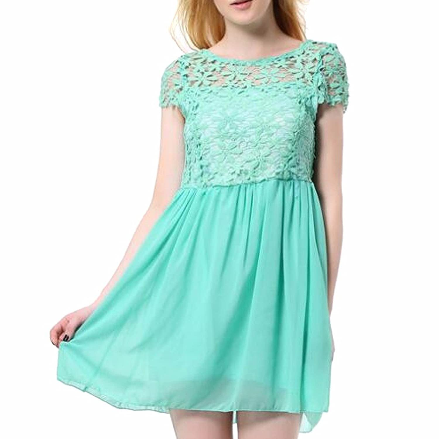 Women Girls Lace Floral Hollow Dress Short Sleeves Mini Dress 4 Colors Party