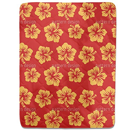 Hibiscus Greetings From Hawaii Fitted Sheet: King Luxury Microfiber, Soft, Breathable by uneekee