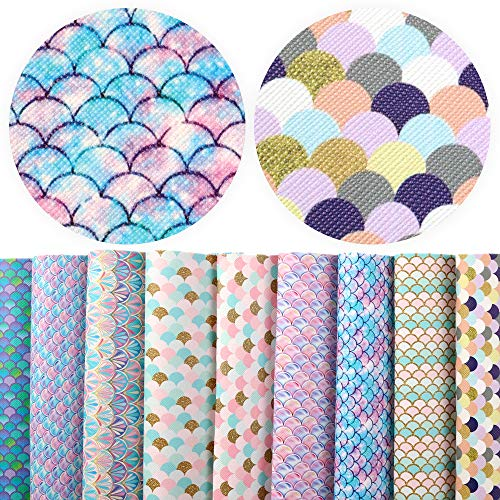David Angie 9 Pcs 8 x 13 Inch Mermaid Scale Faux Leather Sheet Synthetic Fish Scale Leather Fabric for Hair Bow Head Band Bow Ties Making