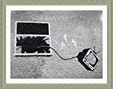 Alonline Art - TV Through Window Banksy Silver Framed Poster (Print on 100% Cotton Canvas on Foam Board) - Ready to Hang | 19''x15'' | Frame Framed Artwork for Living Room Oil Paintings Prints Giclee
