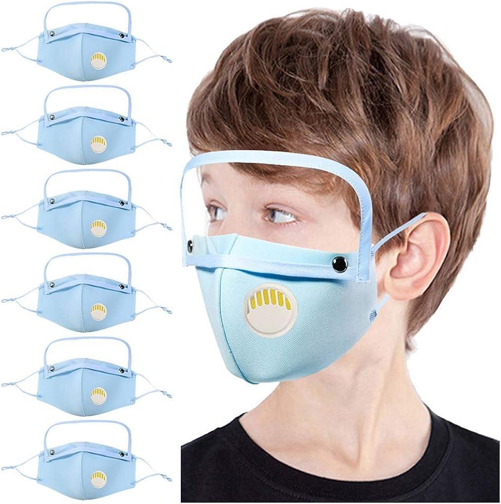 5Pcs Macks+10Pcs Filters Childrens Face Macks Washable Reusable Outdoor Face Bandanas Cute Pattern Dust Mouth Shield for Kids Boys Girls