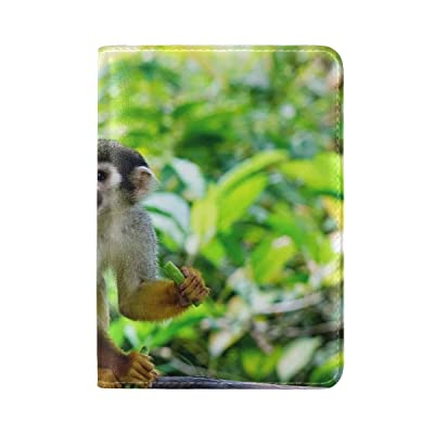 Animal Monkey Squirrel Pretty Adorable Little Pet Cute Wild Leather Passport Holder Cover Case Travel One Pocket