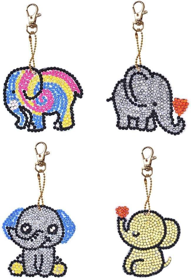 4 Pack DIY Diamond Painting Keychain Animal Gift Key Ring Full Drill Mosaic Making Diamond Painting Pendant for Art Craft Key Ring Phone Charm Bag Decor