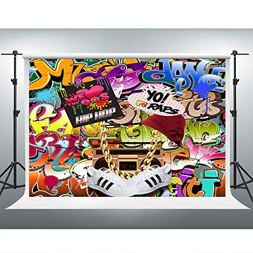 Hip Hop Decorations - VVM 7x5ft Backdrop 80's 90's Themed