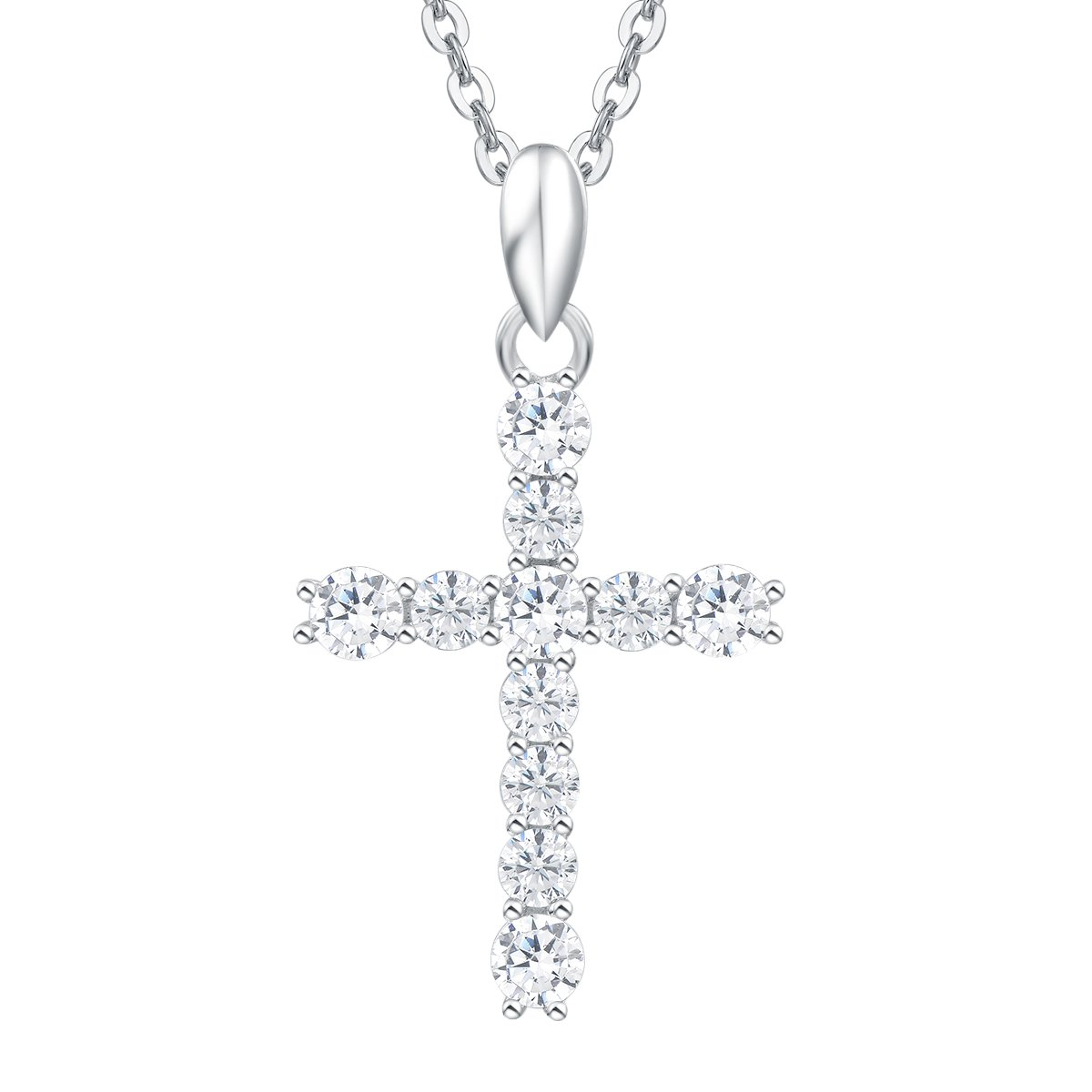 Sterling Silver Prong Setting Cubic Zirconia Cross Pendant Necklace for Women Girls with 18 Inch Sterling Silver Chain