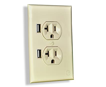 CurrentWerks UI-2222-SI USB Outlet Duo In-Wall Standard AC Outlet ...