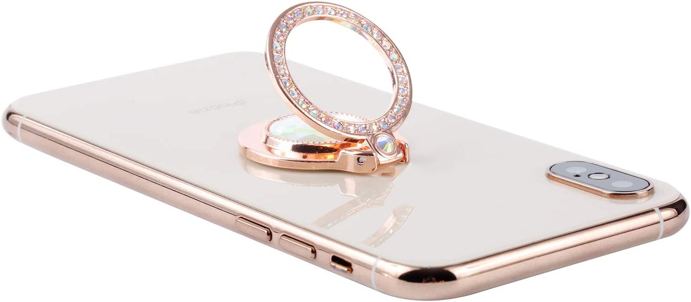 Sparkly Bling Bling Cell Phone Ring Grip Stand for Almost All Phones Rose Gold Glitter Bling Diamond Phone Ring Kickstand Holder for Girls Women
