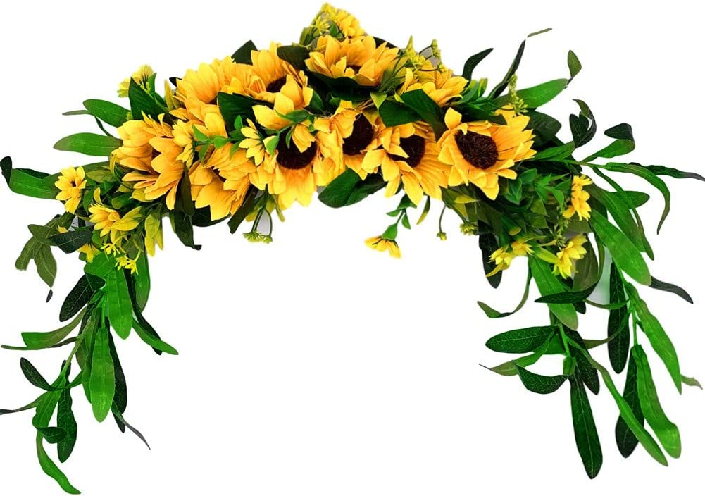 BestRoyal Artificial Sunflowers Summer Swag, Silk Green Sunflowers Everyday Door ACH, Artificial Spring Garland Lintel for Front Door Wall Wedding Party Home Decor, 23 Inch