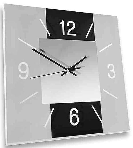 dekojohnson - Moderne Wanduhr aus Glas für Wohnzimmer/Küche/Schlafzimmer -  Design Küchenuhr Schwarz/Grau 30x30cm Gross