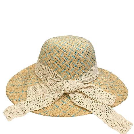 Yisaesa Sombrero de Paja Sombrero de ala Grande Sombrero para el Sol  Sombrero de Playa de Verano para Mujer con Lazo de Encaje (Color    Amarillo ff97a9e5eb5