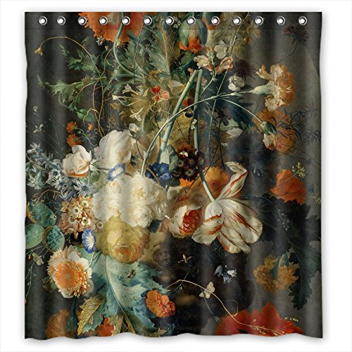 NASAZONE Christmas Shower Curtains Width X Height / 66 X 72 Inches / W H 168 By 180 Cm(fabric) Nice Choice For Girls Father Gf Boys Kids Girl. With Hooks Famous Classic Art Painting Flowers Blosso