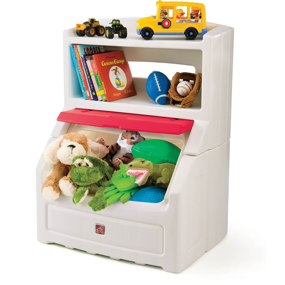 Step2 Lift and Hide Bookcase Storage Chest for Kids - Durable Plastic Toy Box Bookshelf Organizer, White/Red by Step2 (Image #3)