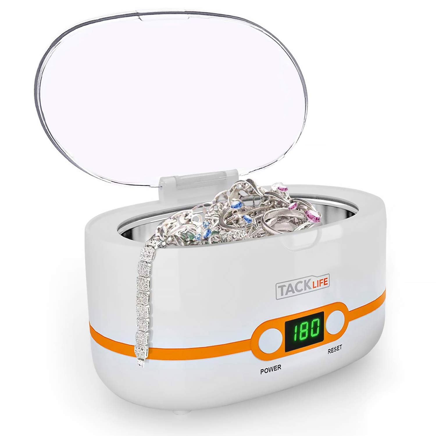 Ultrasonic Cleaner, Compact Professional Ultrasonic Jewelry Cleaner 20 Ounces(600ML) with Five Digital Timer, Watch Holder, SUS Tank for Cleaning Eyeglasses, Watches, Dentures - MUC02 by TACKLIFE