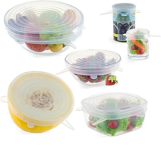 6pcs Reusable Kitchen Silicone Stretch Wraps Cover Lids Keep Fresh Food Storage