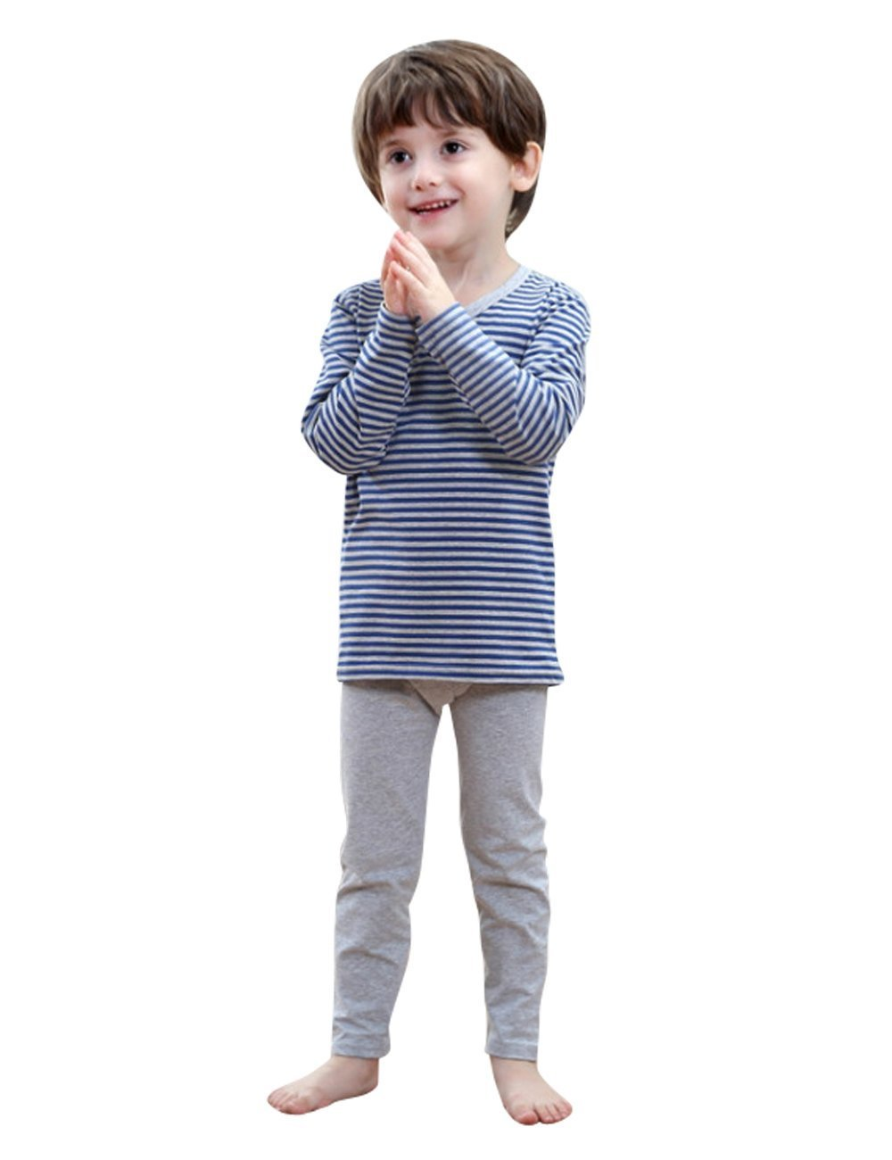 MOKAYA Boys Elastic Thermal Underwear Set Long Top Bottom (160CM,Blue) by MOKAYA (Image #1)