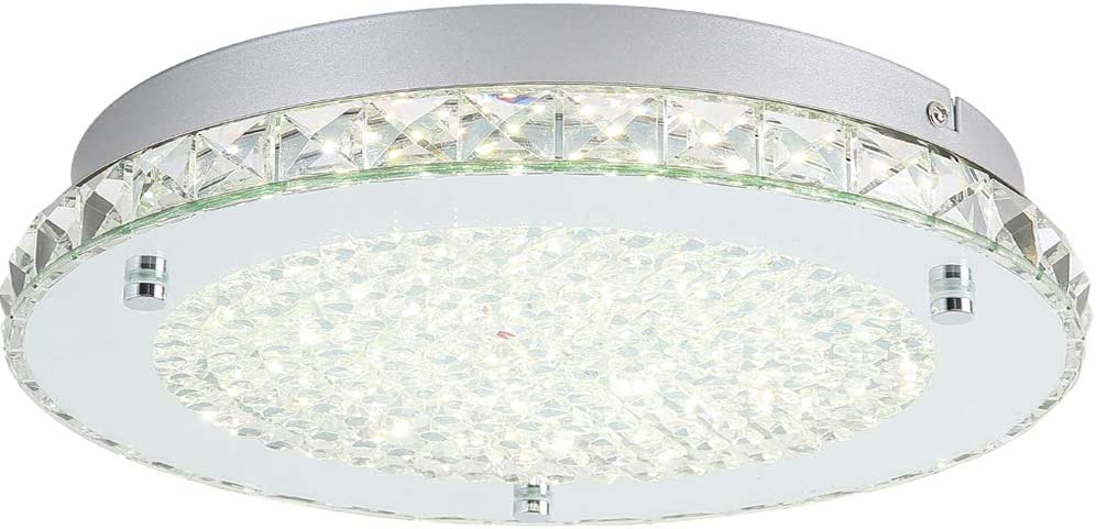 Amazon Com Led Flush Mount Light Fixture Auffel Minimalist Ceiling Light 11 Inch Surface Modern K9 Crystal Chandelier Glass 4000k Daylight White Lamp 1980lm Lighting For Kitchen Island Bathroom Bedroom Hallway Home Improvement