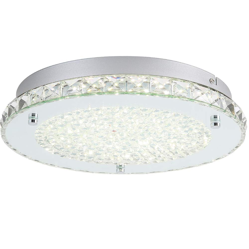 Auffel Modern Minimalist LED Ceiling Light,K9 Crystal+Glass+Metal Flush Mount Light Fixture,11-Inch 4000K Daylight White1980ML, Dimmable Chandelier Lighting for Living Room, Bed Room,Kitchen,Hallway