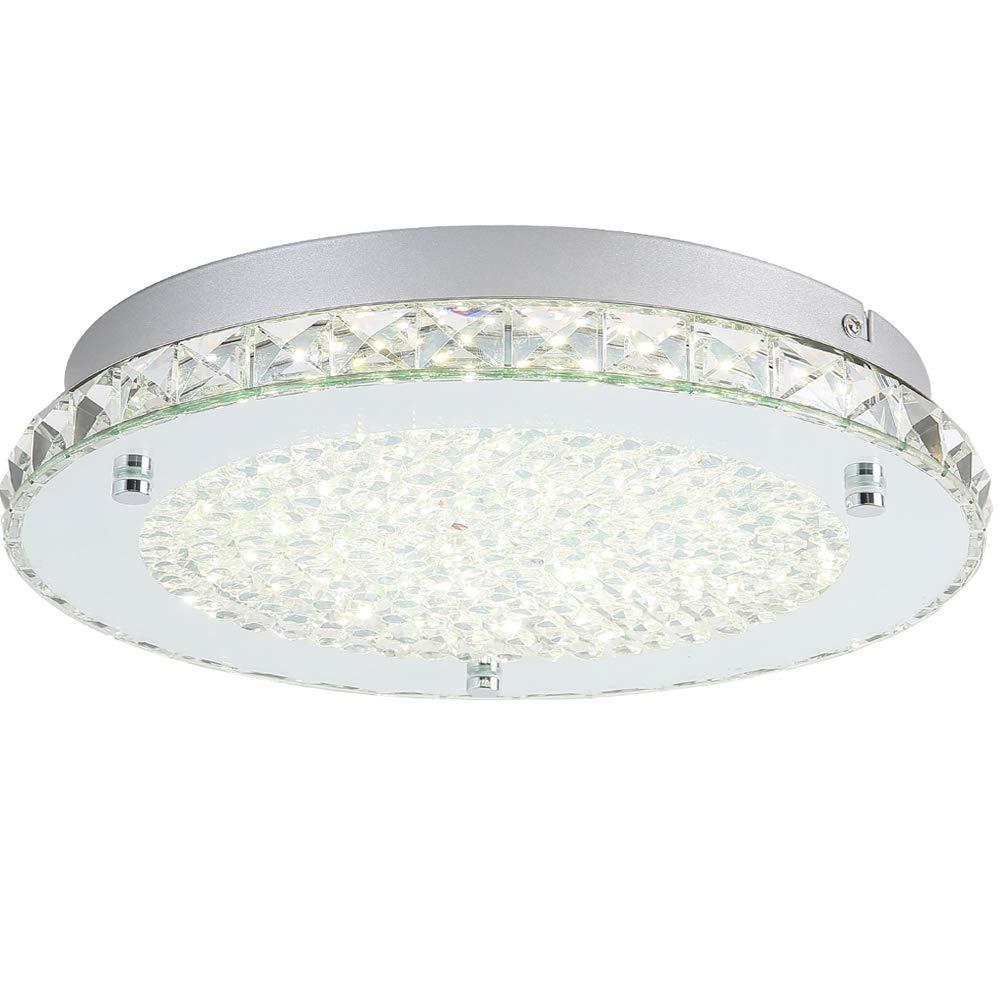 Auffel Modern Minimalist LED Ceiling Light,K9 Crystal+Glass+Metal Flush Mount light Fixture,11-Inch 4000K Daylight White1980ML, Dimmable Chandelier Lighting for Living room, Bed room,Kitchen,Hallway,O