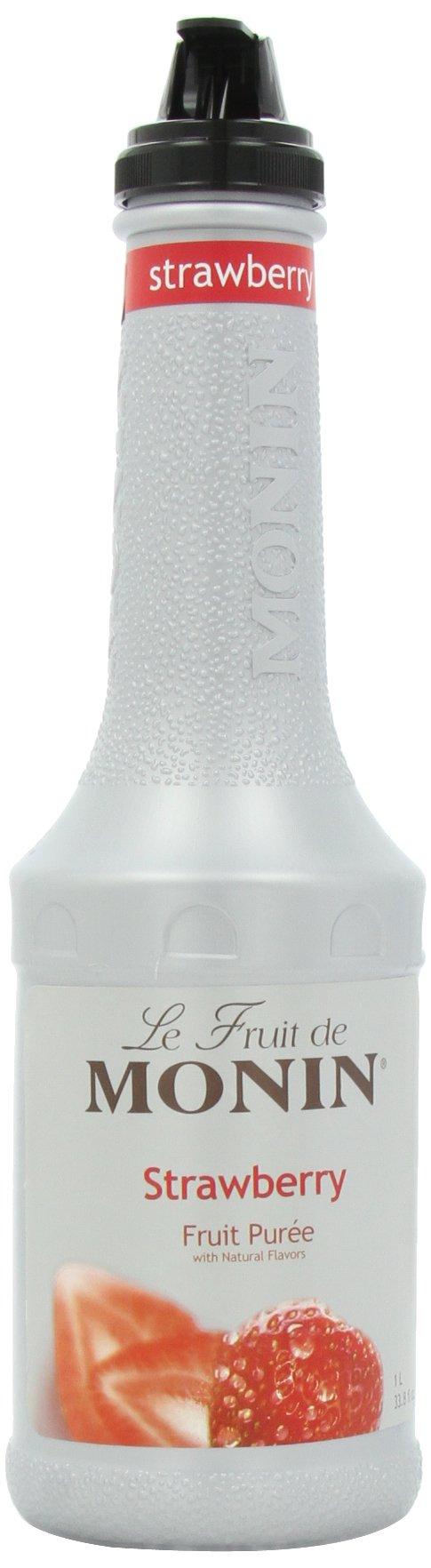 Monin Fruit Puree, Strawberry, 33.8-Ounce Bottles (Pack of 4)