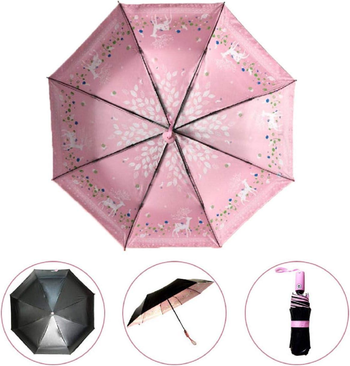 Automatic Umbrella Sun Umbrella Deer Umbrella Automatic Black Plastic Umbrella Ladies Umbrella for Men and Women Roysberry Folding Umbrella