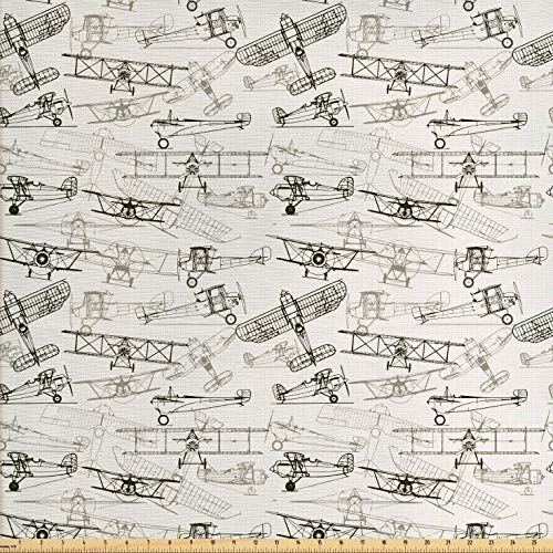 Ambesonne Airplane Fabric by The Yard, Old Fashioned Transportation Hand Drawn Style Vintage Pattern, Decorative Fabric for Upholstery and Home Accents, 3 Yards, Olive Green