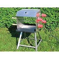 Spießgrill XXL silber Skewer Grill Garten Camping Balkon ✔ eckig ✔ stehend grillen ✔ Grillen mit Holzkohle ✔ TÜV-geprüft GS-geprüft