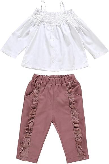 Chennie Conjuntos de niña pequeña para niños Conjunto Top de Camisa Blanca sin Hombros + Pantalones con Volantes 2 Piezas de Ropa para Fiesta: Amazon.es: Ropa y accesorios