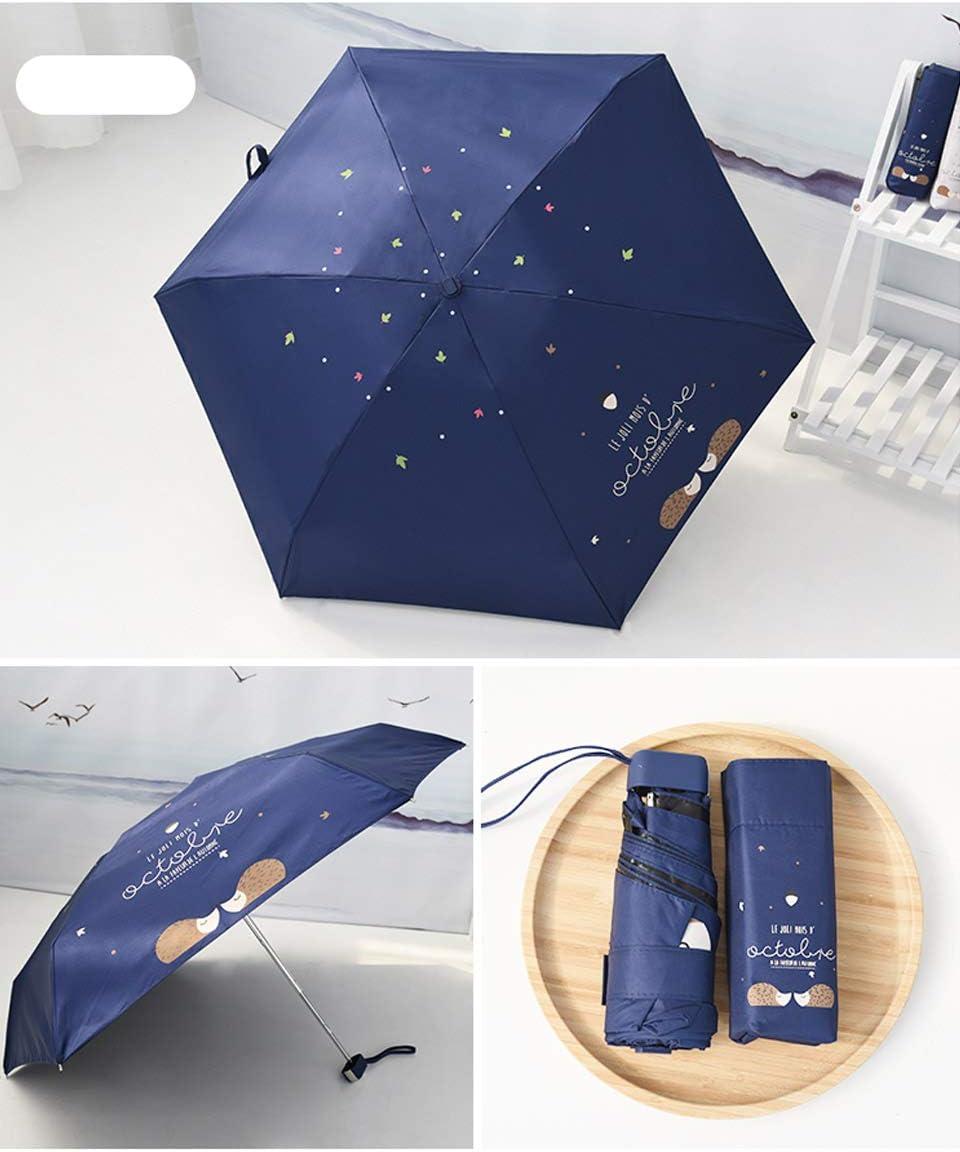 XCWQ Parapluie H/érisson Mignon Crayon Parapluie Filles Anti-UV /Étanche Portable Parapluie De Voyage Cinq Pliant Mini Poche Pluie Parasols