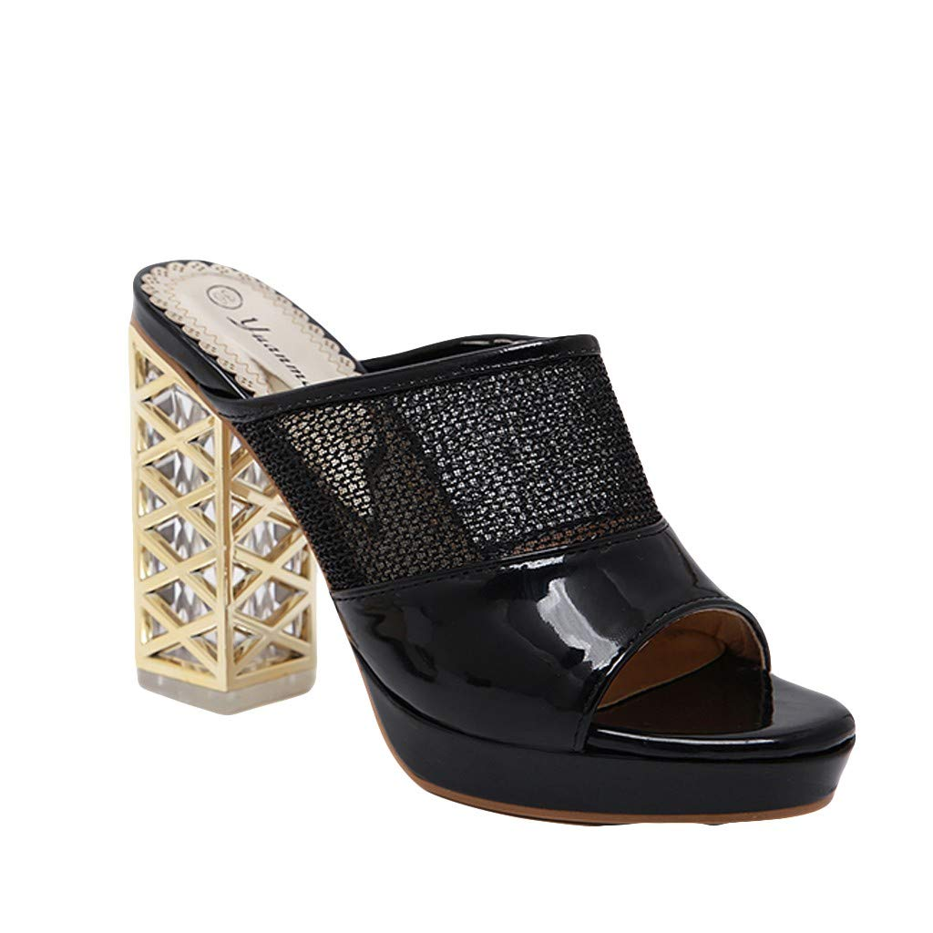 Claystyle Women's Thick Hight Heel Slippers, Summer Crystal Casual Hollow Shoes Retro Roman Sandals(Black,US=6)