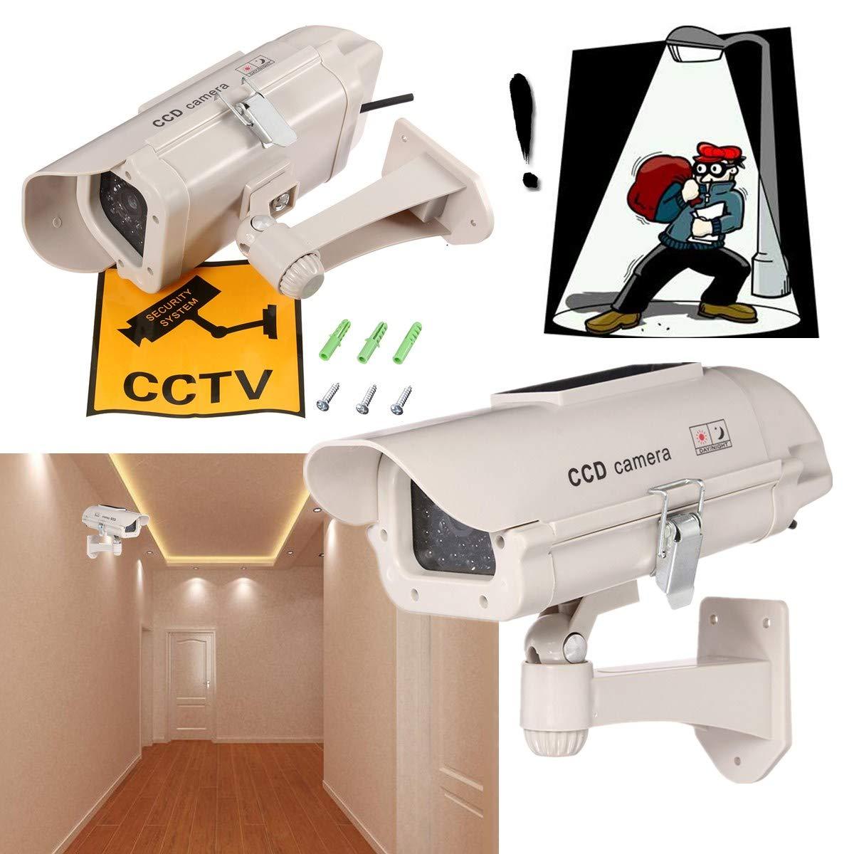 DELAMZ - Outdoor Simulation Dummy Camera CCTV Home Surveillance Mini Camera Flashing LED Light Camera Solar Power by DELAMZ