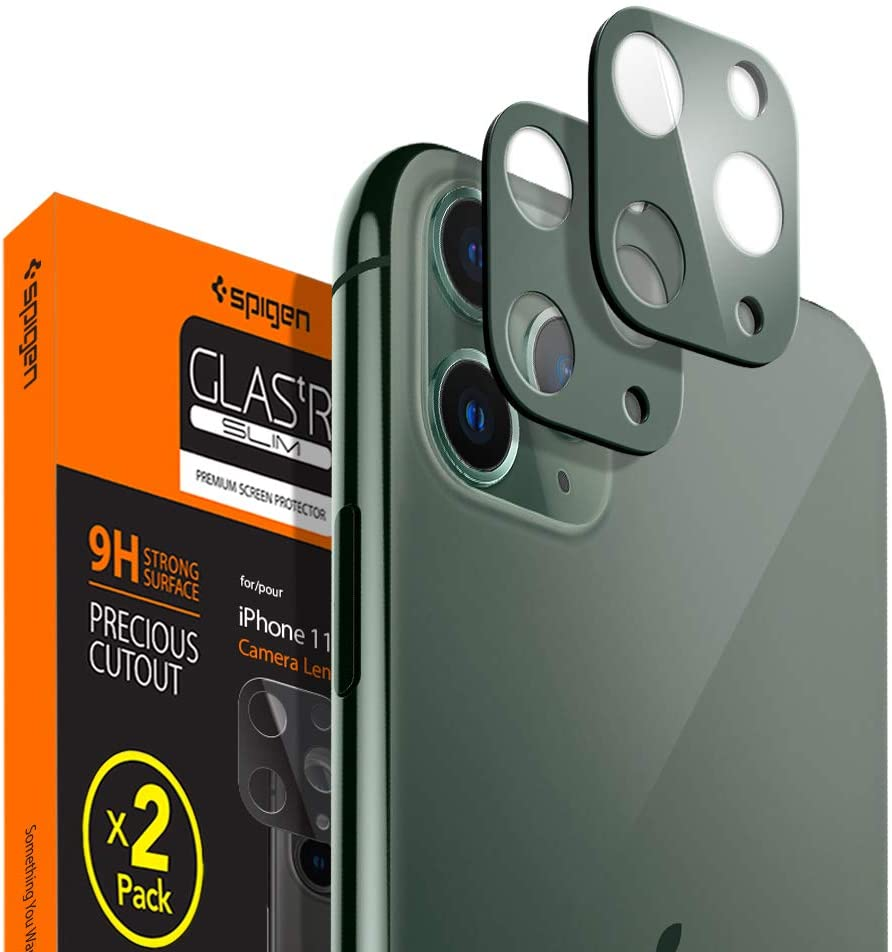 Amazon Com Spigen Camera Lens Screen Protector 2 Pack Designed For Apple Iphone 11 Pro Iphone 11 Pro Max Midnight Green