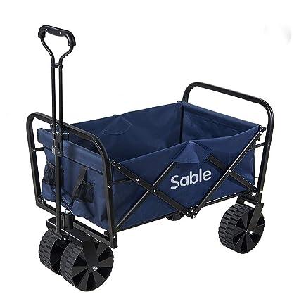 Sable Carro de Transporte Plegable Wagon Resistente al Aire Libre para Compras, Festivales, Camping, jardinería, conciertos y Mucho más, 55 x 22 x 79 ...
