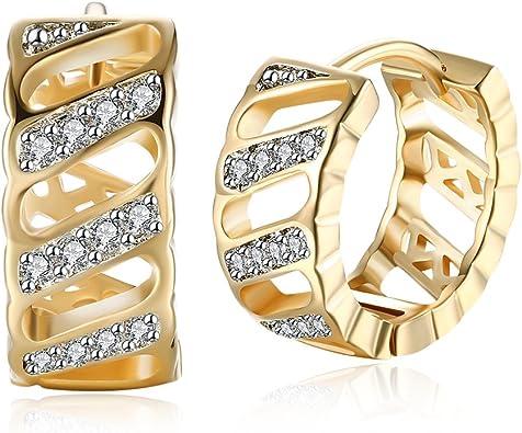 Cr/éoles or Femme Boucles doreilles Plaqu/é or filles Cadeau de bijoux avec Swarovski Zircon Cubique