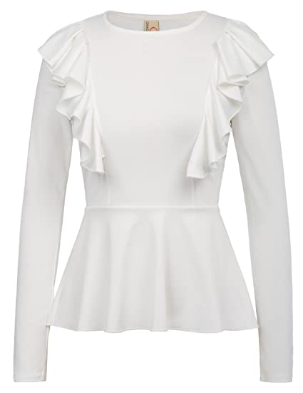 8c1f36dc71e GRACE KARIN Women's Ruffle Long Sleeve Peplum Top Shirt With Zipper Size S  White