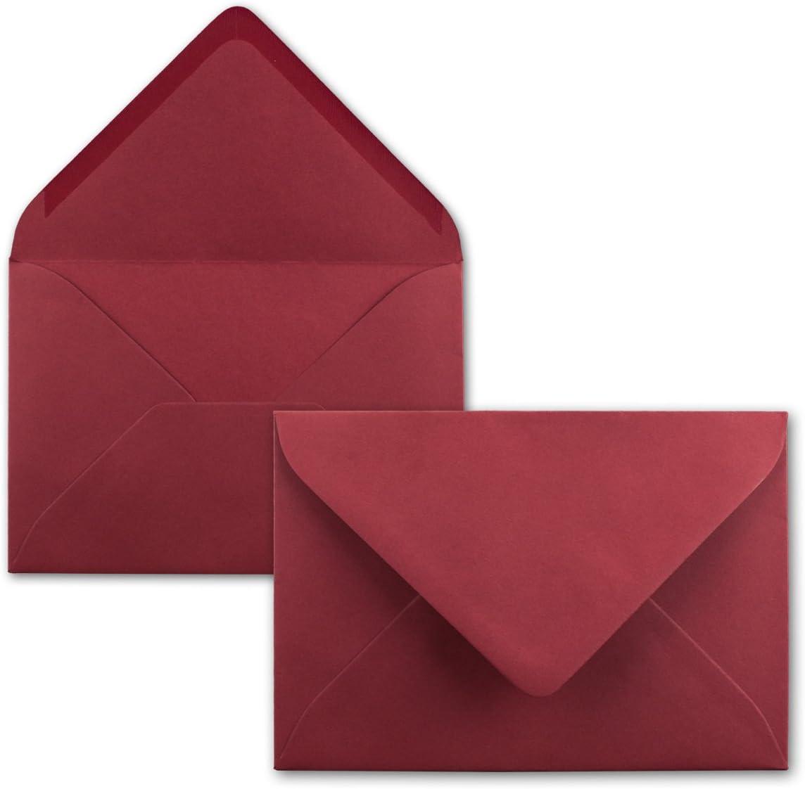 Kuverts mit Nassklebung ohne Fenster f/ür Gru/ß-Karten /& Einladungen DIN C6-114 x 162 mm 250 Brief-Umschl/äge Dunkel-Rot Serie FarbenFroh/®