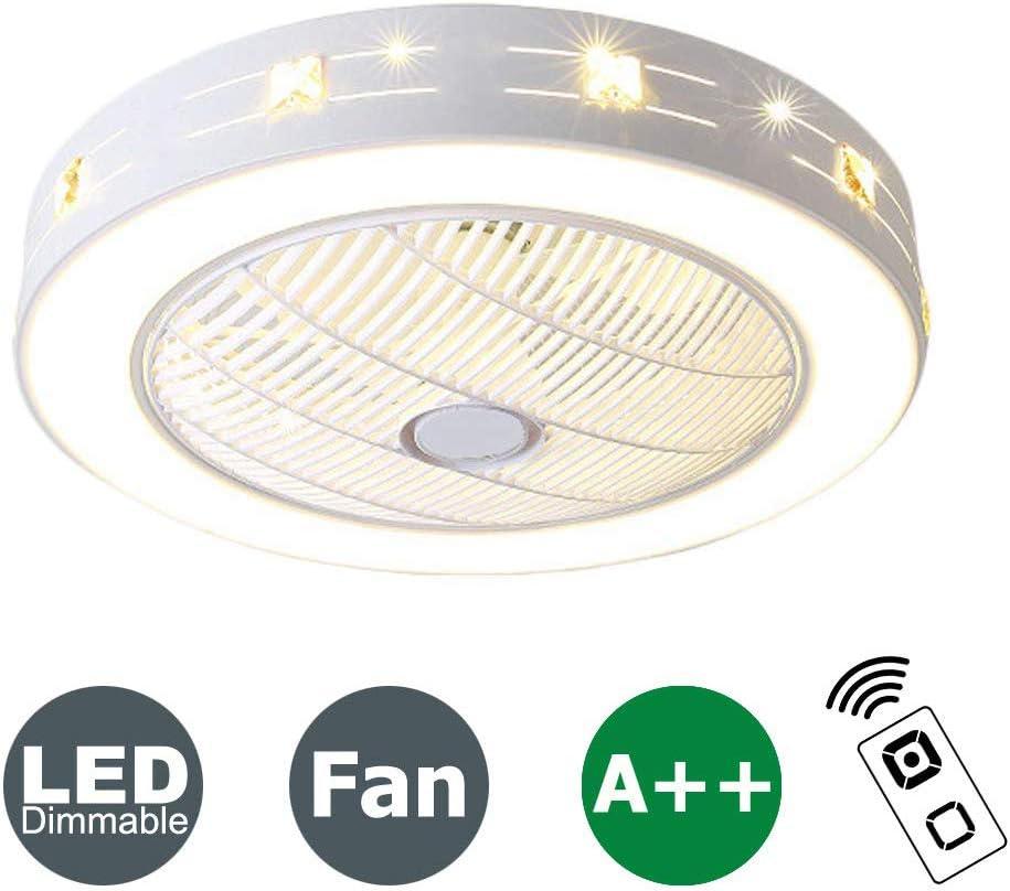 XMYX Ventilador de Techo con Luz y Mando a Distancia Ventilador Silencioso Lámpara de Techo LED Regulable Moderna Ventilador Invisible Cuarto de Estar Dormitorio Guardería Plafón Fan, 72W, 59 cm