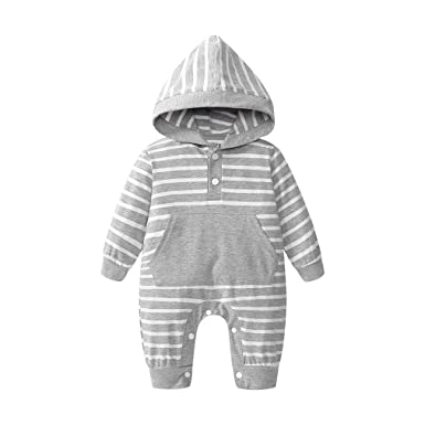 db0859779 HEHEM Baby Clothes Girl Boy Newborn Baby Striped Print Pocket Rompers  Jumpsuit Hooded Outfits Clothes Rompers Suit Jumpsuit Newborn Clothes Set  Designer ...