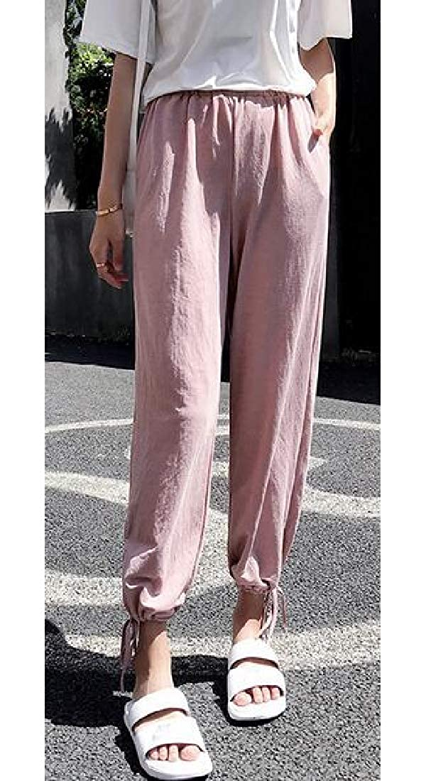 Fensajomon Womens Cotton Linen Comfy Elastic Waist Loose Fit Casual Solid Color Jogging Pants