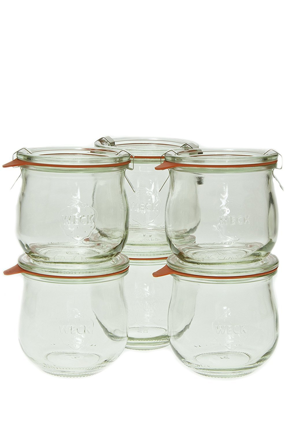 Weck Glass Storage Jars with Lids, Set of 6 (Made in Germany).